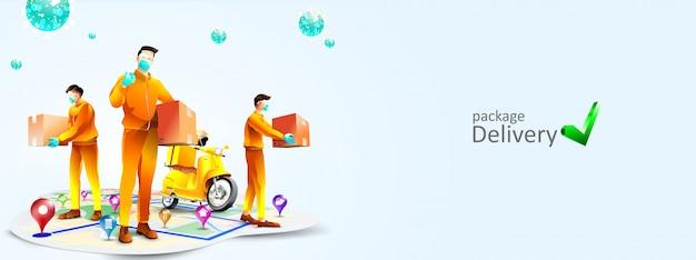 Veilige pakketbezorging tijdens coronavirus pandemie met scooter. een koerier gebruikt een chirurgisch wegwerpmasker ter bescherming tegen covid-19. online bezorgservice en online order tracking concept