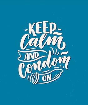 Veilige seks-slogan, geweldig ontwerp voor elk doel. belettering voor wereld aidsdag ontwerp.