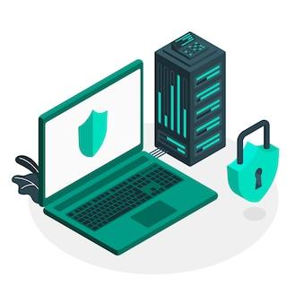 Veilige server concept illustratie