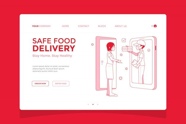 Veilige voedselbezorging service bestemmingspagina illustratie, bestel pizza van mobiel e-commerce concept