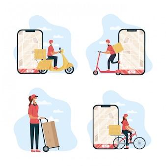 Veilige voedselbezorging vrouwelijke werknemer met smartphones en voertuigen