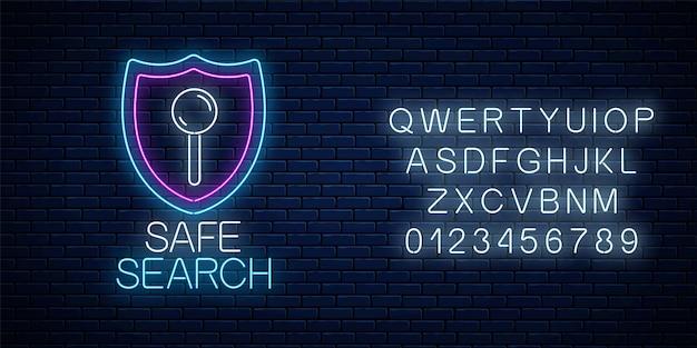Veilige webzoekservice gloeiend neonbord met alfabet op donkere bakstenen muurachtergrond. internet technologie symbool met schild. vector illustratie.