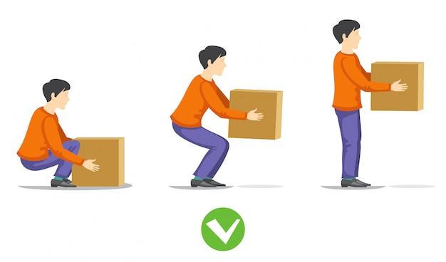 Veiligheid correct opheffen van zware doosillustratie. instructie juiste tilbelasting