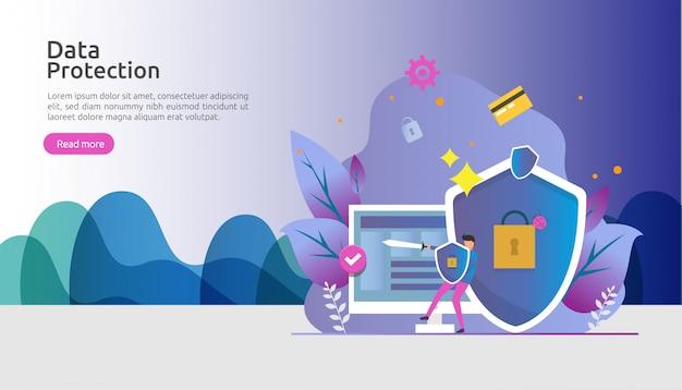 Veiligheid en vertrouwelijke gegevensbescherming. vpn internet netwerkbeveiliging. verkeerscodering persoonlijk privacyconcept met mensenkarakter. weblandingspagina, banner, presentatie, sociale media of gedrukte media