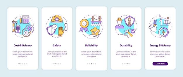 Veiligheid in civiele techniek onboarding mobiele app-paginascherm met conceptillustraties