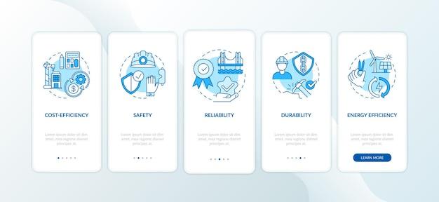 Veiligheid in civieltechnische blauwe onboarding mobiele app-paginascherm met concepten