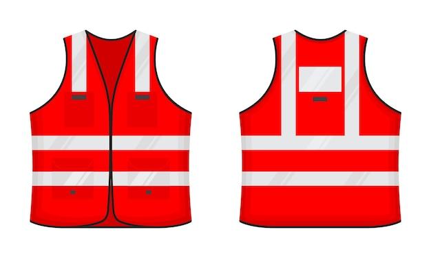 Veiligheid reflecterend vest pictogram teken vlakke stijl ontwerp vector illustratie set