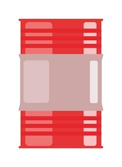 Veiligheid rode stalen vat geïsoleerd op een witte achtergrond