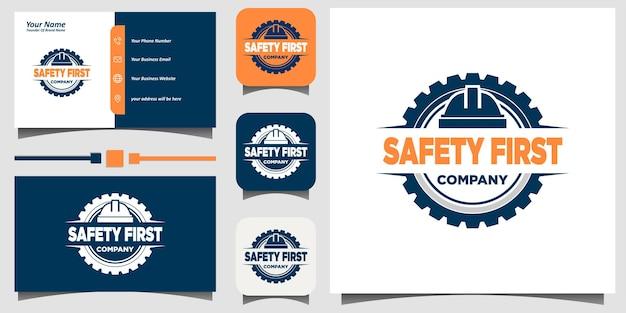 Veiligheid voorop logo-ontwerp met visitekaartje