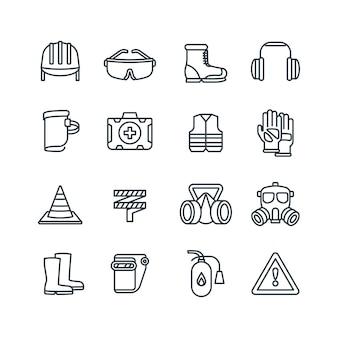 Veiligheid werkuitrusting en beschermende kleding lijn vector iconen