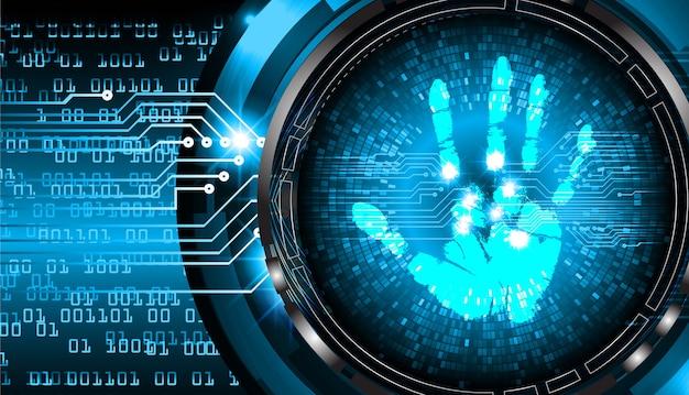 Veiligheidsconcept, cyberbeveiliging, vingerafdruk. scannen. hand afdruk.