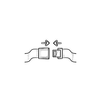 Veiligheidsgordel en pijlen hand getrokken schets doodle pictogram. veiligheidsgordel vastmaken, veiligheidsgordel dragen en vergrendelen