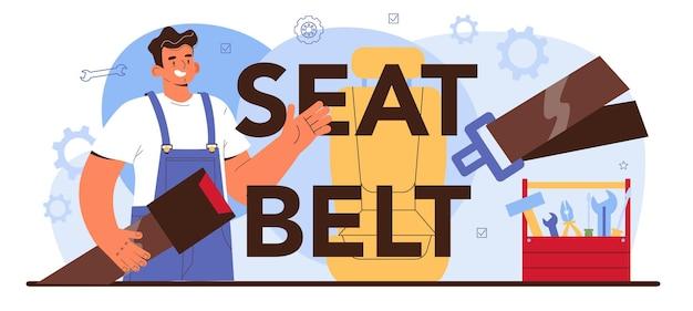Veiligheidsgordel typografische kop auto-onderdelen zijn gerepareerd