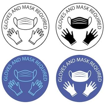 Veiligheidshandschoenen zijn verplicht masker en handschoenen zijn verplicht waarschuwingsbord voor preventie