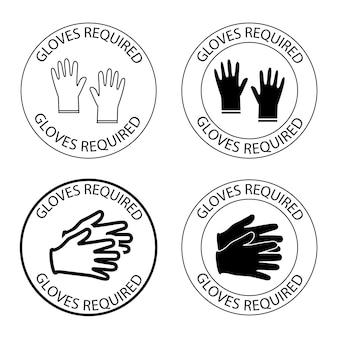 Veiligheidshandschoenen zijn verplicht rond symbool met opschrift handschoenen aan de binnenkant verplicht