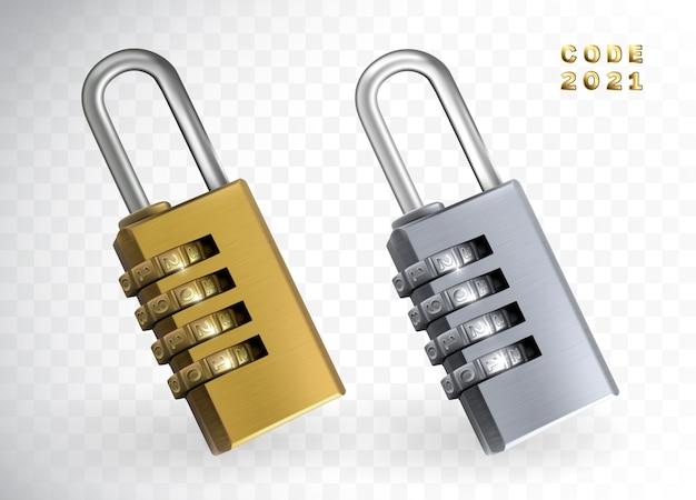 Veiligheidsslot 2021 3d illustratie. nieuwjaar code hangslot geïsoleerd. gouden en zilveren sloten met cijfers