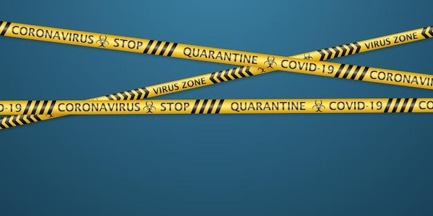 Veiligheidstapes met waarschuwingslabels voor coronavirus en symbolen voor biologisch gevaar. in zwarte en gele kleuren met zachte schaduwen op lichtblauwe achtergrond