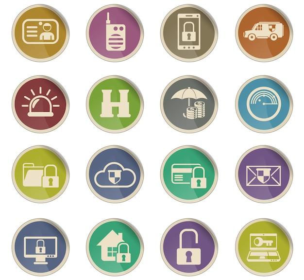 Veiligheidsvectorpictogrammen in de vorm van ronde papieren etiketten