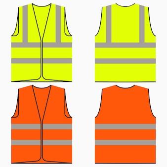 Veiligheidsvest. set geel en oranje werkuniform met reflecterende strepen. vector illustratie.