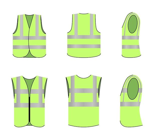 Veiligheidsvest uniform met reflecterende fluorescerende strepen set. vest werkkleding voor veiligheid of bouwplaats werknemer, ingenieur mouwloze kleding vectorillustratie geïsoleerd op een witte achtergrond