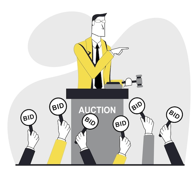 Veiling een zakenman houdt een veiling, mensen houden biedtekens vast