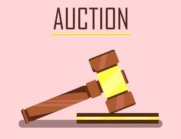 Veiling houten hamer voor het kopen en verkopen van goederen.