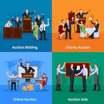 Veiling online veiling en verkoop aan de hoogste bieder platte karakters