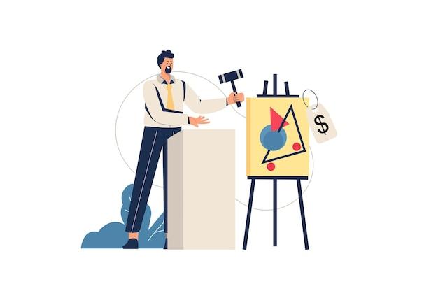 Veiling webconcept. verkoper met hamer verkoopt schilderij op veiling, investering in kunstwerken, koopje van foto bij galerij, minimale mensenscène. vectorillustratie in plat ontwerp voor website