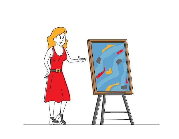 Veilingmeester vrouwelijk personage biedt meesterwerkfoto aan voor veilingbiedingen