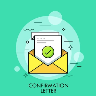 Vel papier met groen vinkje in envelop. concept van bevestiging, acceptatie of goedkeuringsbrief, schriftelijke verificatie