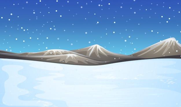 Veld bedekt met sneeuw