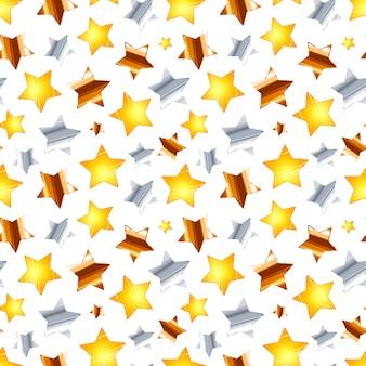 Vele gouden, zilveren en bronzen sterren op wit, naadloos patroon
