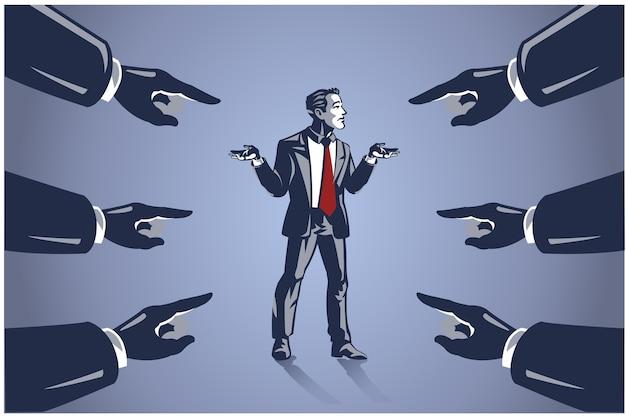 Vele handen gericht op zakenman, bedrijfsillustratieconcept om mensen de schuld te geven voor mislukking