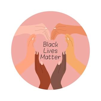 Vele handen van verschillende rassen vormden samen een hartsymbool als een campagne voor zwarte levensmaterie. zeg nee om het racisme-pictogram te stoppen. plat geïsoleerd op een witte achtergrond