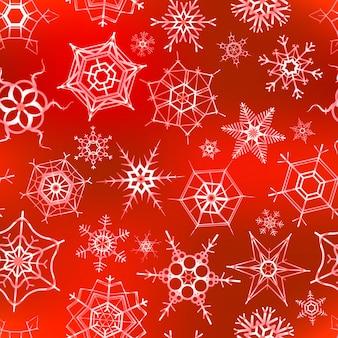 Vele ijzige sneeuwvlokken op rood, kerstmis naadloos patroon