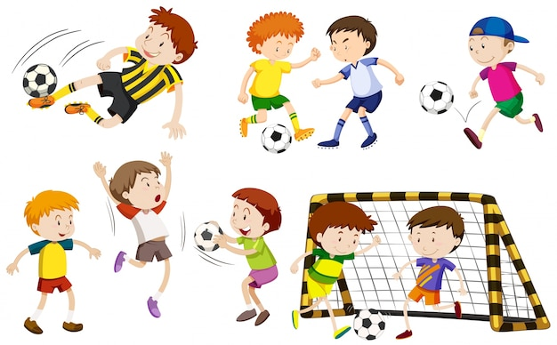 Vele jongens spelen voetbal illustratie