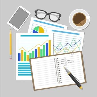 Vellen papier met analytische grafieken en diagrammen. smartphone, laptop, glazen, pen, koffiekopje illustratie.