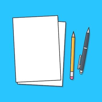 Vellen papier met potlood en pen vector icon