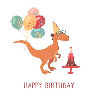 Velociraptor met een verjaardagstaart met een kaars en ballonnen