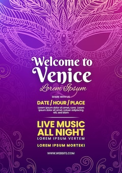 Venetiaanse carnaval poster sjabloon in violette tinten