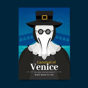 Venetiaanse carnaval poster sjabloon pest dokter kostuum