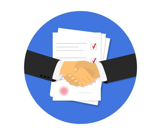 Vennootschap. documentpapieren. overeenkomst en contract met stempel. plat ontwerp.