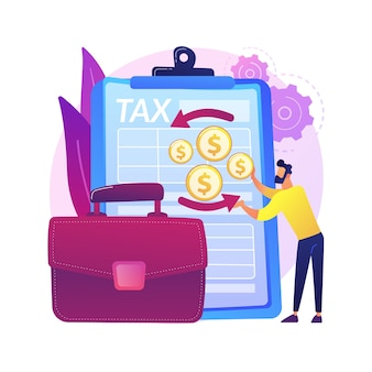 Vennootschapsbelastingaangiften abstract concept illustratie. aangifteformulier bedrijfsinkomsten, vennootschapsboekhouding, belastingvoorbereiding, financiële activiteit, vennootschapsbelasting.
