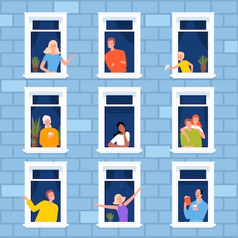 Venster buurt. mensen kijken uit raamkozijnen buitenmeubels voor modern appartement modern