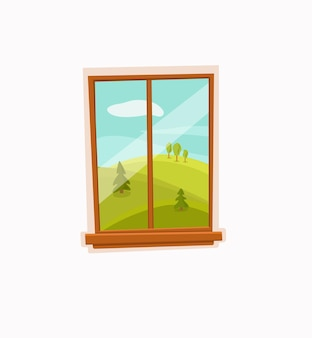 Venster cartoon kleurrijke vectorillustratie met vallei zomerzon landschap met weg, bomen groen veld