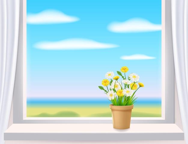 Venster in binnenaanzicht op landschap lente bloempot met bloemen Premium Vector