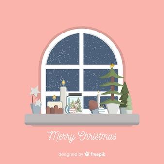 Venster kerstmis achtergrond