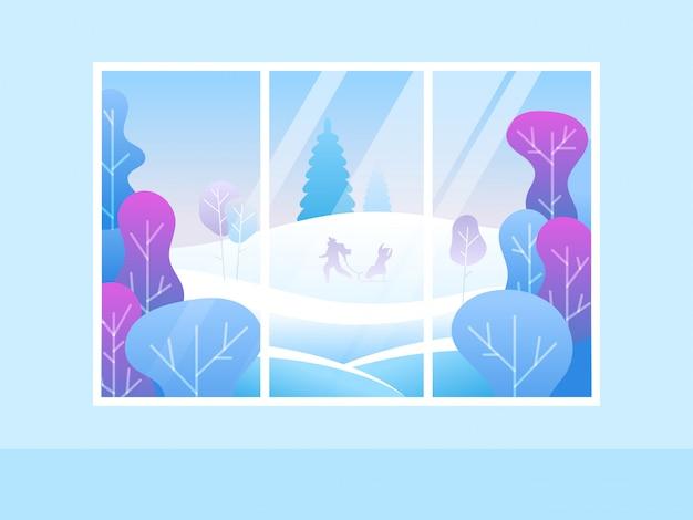 Venster met uitzicht op het besneeuwde bos