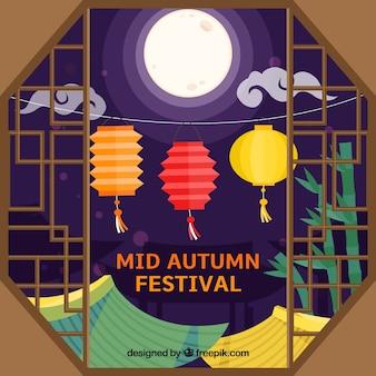 Venster, midden herfst festival