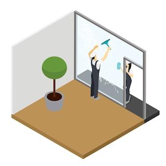 Venster schoonmaken Isometrische interieur samenstelling